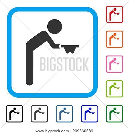 Child Beggar icon. Flat grey iconic symbol in a light blue rounded squared frame. Black, gray, green, blue, red, orange color versions of Child Beggar vector. Designed for web and app interfaces.