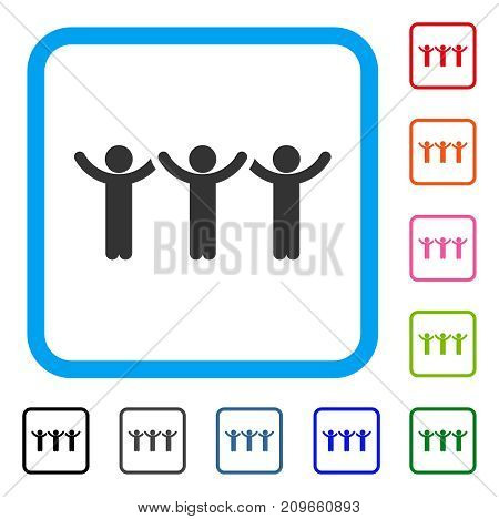 Child Hands Up Roundelay icon. Flat gray pictogram symbol inside a light blue rounded rectangular frame. Black, gray, green, blue, red, orange color versions of Child Hands Up Roundelay vector.