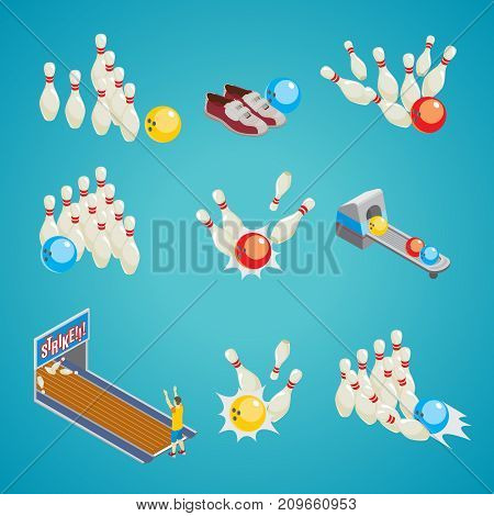 Isometric bowling game elements collection with skittles colorful balls sneakers player and lane isolated vector illustration
