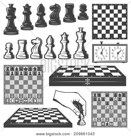 Vintage chess game elements set with chessboards clock king queen knight rook pawn bishop figures isolated vector illustration