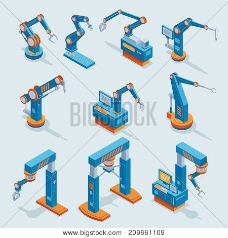 Isometric industrial factory automation elements set with different robotic automated mechanical arms isolated vector illustration