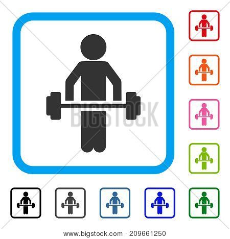 Child Power Lifting icon. Flat gray iconic symbol in a light blue rounded rectangular frame. Black, gray, green, blue, red, orange color additional versions of Child Power Lifting vector.