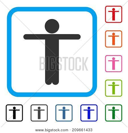 Child Scarescrow icon. Flat gray iconic symbol inside a light blue rounded frame. Black, gray, green, blue, red, orange color versions of Child Scarescrow vector. Designed for web and app UI.