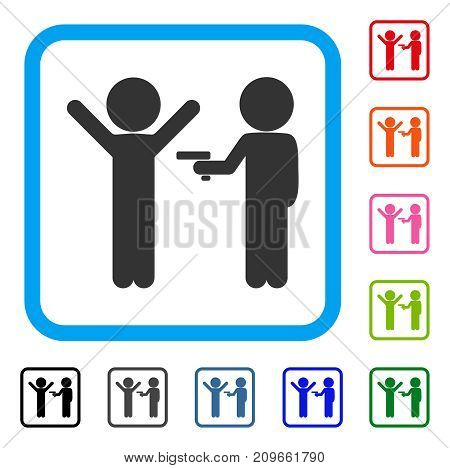 Children Crime icon. Flat grey pictogram symbol in a light blue rounded frame. Black, gray, green, blue, red, orange color additional versions of Children Crime vector.