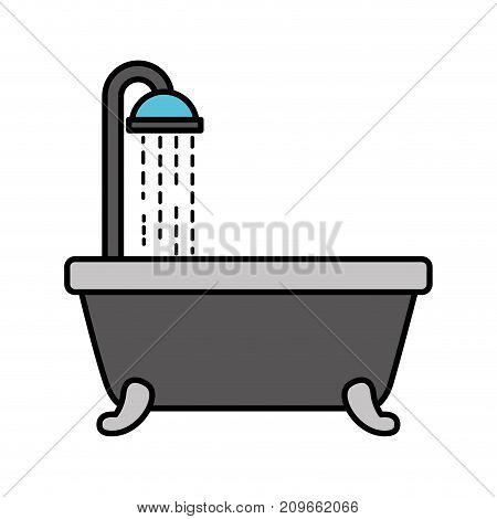 bathtub shower clean hygiene interior ceramic icon vector illustration