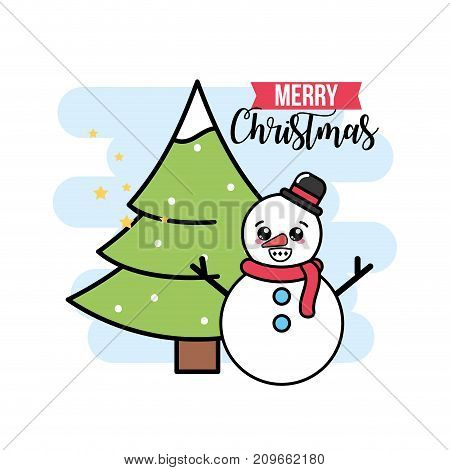 merry christmas event with traditional celebration vector illustration