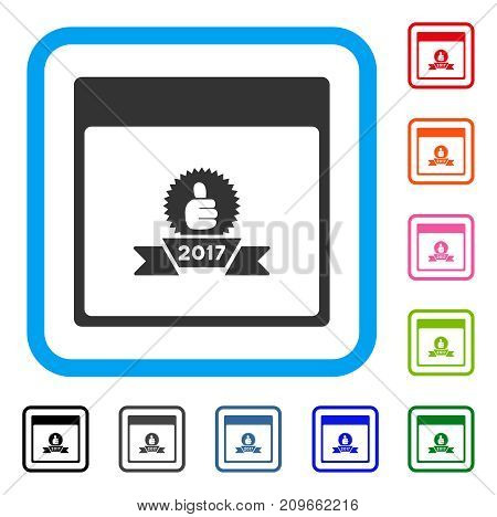 2017 Award Ribbon Calendar Page icon. Flat gray pictogram symbol inside a light blue rounded square. Black, gray, green, blue, red,
