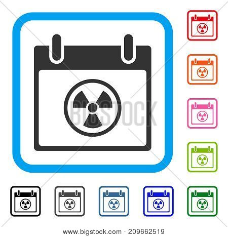Atomic Calendar Day icon. Flat grey iconic symbol in a light blue rounded rectangle. Black, gray, green, blue, red, orange color variants of Atomic Calendar Day vector.