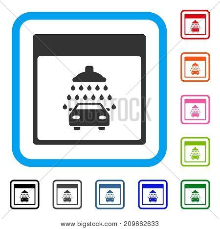 Automobile Shower Calendar Page icon. Flat grey iconic symbol in a light blue rounded squared frame. Black, gray, green, blue, red, orange color variants of Automobile Shower Calendar Page vector.