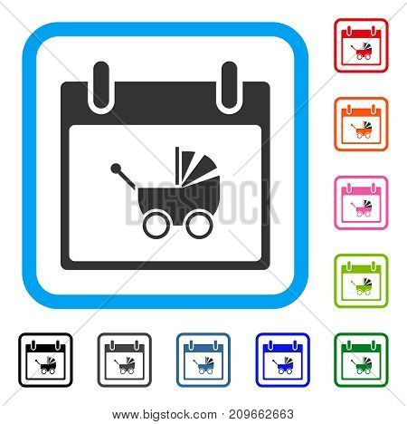 Baby Carriage Calendar Day icon. Flat gray iconic symbol inside a light blue rounded frame. Black, gray, green, blue, red, orange color versions of Baby Carriage Calendar Day vector.