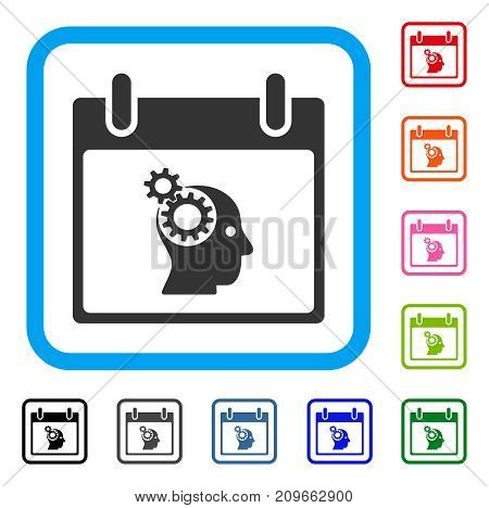 Brain Gears Calendar Day icon. Flat grey pictogram symbol inside a light blue rounded rectangular frame. Black, gray, green, blue, red, orange color versions of Brain Gears Calendar Day vector.