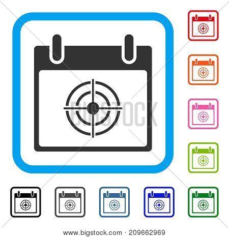 Bullseye Calendar Day icon. Flat gray iconic symbol in a light blue rounded rectangle. Black, gray, green, blue, red, orange color variants of Bullseye Calendar Day vector.
