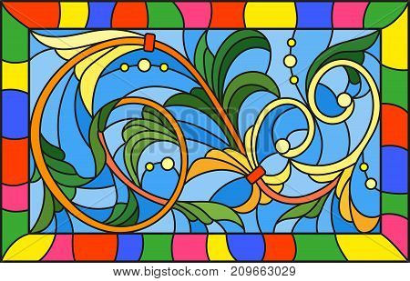 Illustration in stained glass style with abstract swirls and leaves on a blue backgroundhorizontal orientation