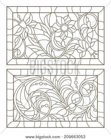 Set contour illustrations of stained glass with abstract swirls and flowers in frames horizontal orientation
