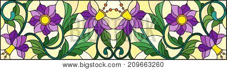 Illustration in stained glass style with abstract swirlspurple flowers and leaves on a yellow backgroundhorizontal orientation