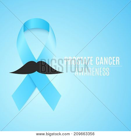 Prostate cancer ribbon awareness. Fighting cancer. Blue ribbon with a man's mustache. The month of November. Vector illustration