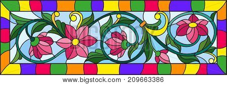 Illustration in stained glass style with abstract pink flowers on a blue background in bright frame