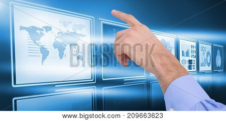 Hand of a businessman pointing something against vector image of business growth diagrams in 3d