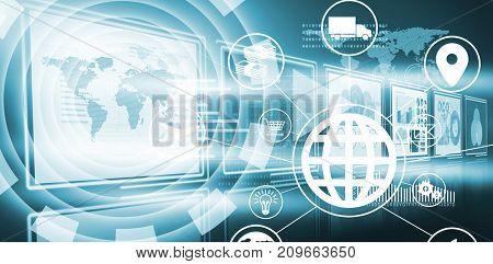 Composite image of globe amidst various icons against vector image of business growth diagrams in 3d