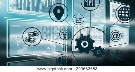 Composite image of gears amidst various icons against vector image of business growth charts in 3d