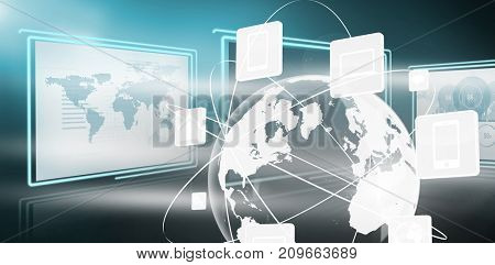 Vector image of business graphs and map against media devices with earth graphic in 3d