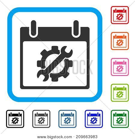 Configuration Tools Calendar Day icon. Flat grey iconic symbol in a light blue rounded square. Black, gray, green, blue, red, orange color variants of Configuration Tools Calendar Day vector.