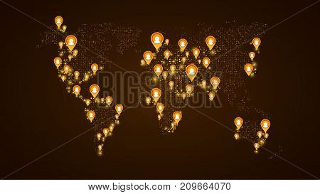 location of users on the world map. Planet Earth. America Asia Africa USA. Orange markers with user icons. Map of points. Global network. The world population. Yellow glow. Vector illustration