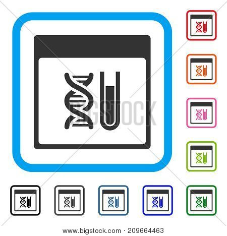 DNA Analysis Calendar Page icon. Flat gray pictogram symbol inside a light blue rounded square. Black, gray, green, blue, red, orange color additional versions of DNA Analysis Calendar Page vector.