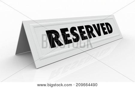 Reserved Guest Spot Reservation Name Tent Card 3d Illustration