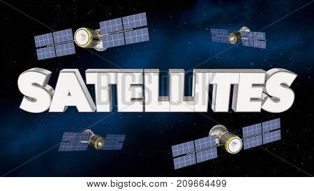 Satellites Network Signal Coverage Telecommunications 3d Illustration