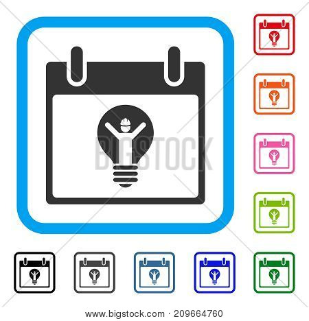 Electrician Calendar Day icon. Flat gray iconic symbol inside a light blue rounded square. Black, gray, green, blue, red, orange color additional versions of Electrician Calendar Day vector.