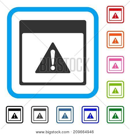 Error Calendar Page icon. Flat grey pictogram symbol in a light blue rounded squared frame. Black, gray, green, blue, red, orange color variants of Error Calendar Page vector.