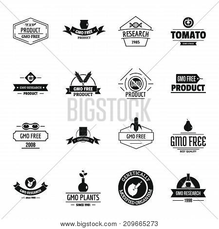 GMO food logo icons set. Simple illustration of 16 GMO food logo vector icons for web