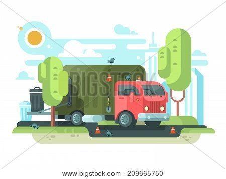 Garbage truck collects garbage in park. Vehicle car with container loading waste and rubbish. Vector illustration