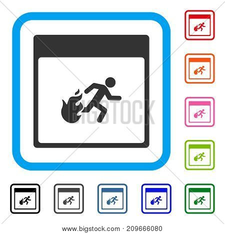 Fire Evacuation Man Calendar Page icon. Flat grey pictogram symbol in a light blue rounded rectangle. Black, gray, green, blue, red,