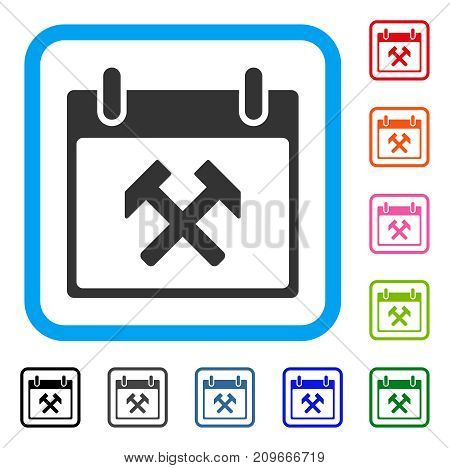 Hammers Calendar Day icon. Flat gray pictogram symbol in a light blue rounded rectangle. Black, gray, green, blue, red, orange color versions of Hammers Calendar Day vector.