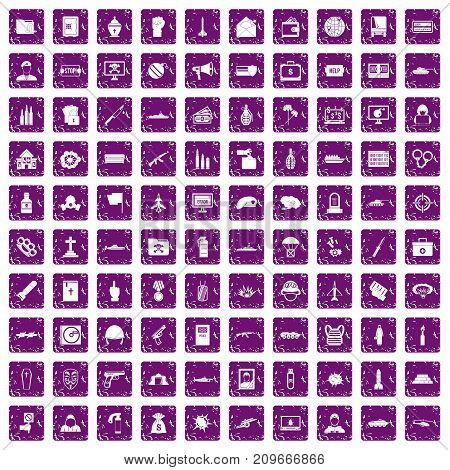 100 war icons set in grunge style purple color isolated on white background vector illustration