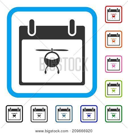 Helicopter Calendar Day icon. Flat gray pictogram symbol inside a light blue rounded rectangular frame. Black, gray, green, blue, red, orange color versions of Helicopter Calendar Day vector.
