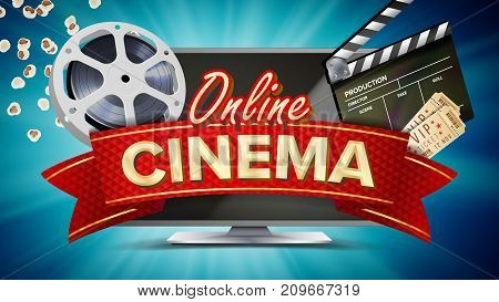 Online Cinema Poster Vector. Modern Computer Monitor Concept. Filmstrip, Reel, Film Clapper, Vintage Ticket, Popcorn. Marketing Luxury Illustration