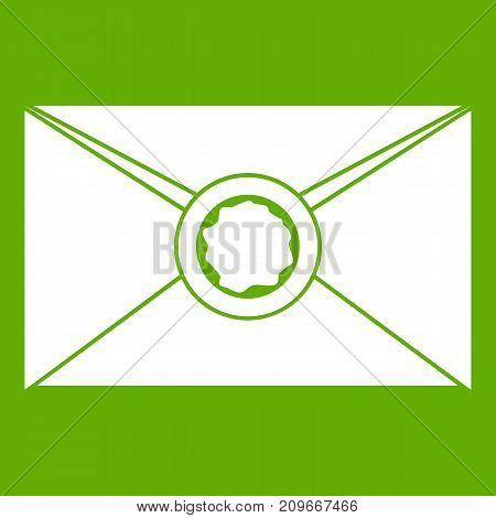Envelope with red wax seal icon white isolated on green background. Vector illustration