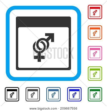 Marriage Calendar Page icon. Flat grey pictogram symbol inside a light blue rounded frame. Black, gray, green, blue, red, orange color versions of Marriage Calendar Page vector.