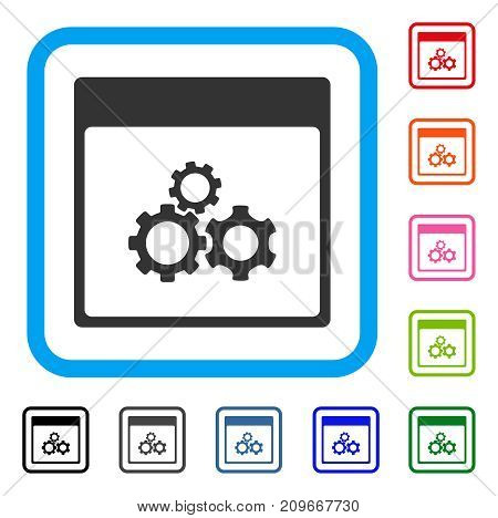 Mechanics Gears Calendar Page icon. Flat grey pictogram symbol inside a light blue rounded rectangle. Black, gray, green, blue, red, orange color variants of Mechanics Gears Calendar Page vector.