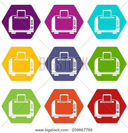 Toaster icon set many color hexahedron isolated on white vector illustration
