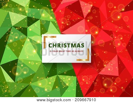 New age of miracle polygon sparkle grand Christmas background in warm town with beautiful wishing card Vector illustration