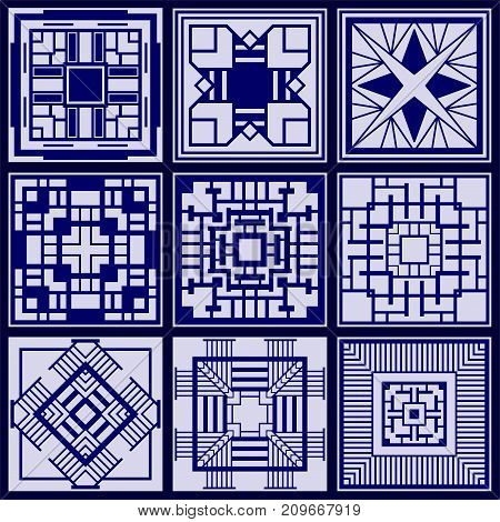 Set Of Tiles Background For Wallpaper, Ceramic, Page Fill, Decorations And More.. Template For Desig