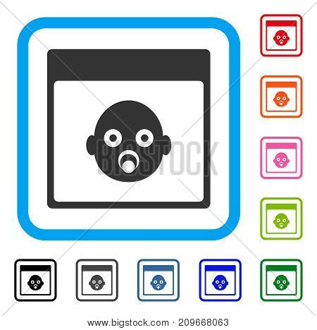 Newborn Head Calendar Page icon. Flat grey iconic symbol in a light blue rounded rectangle. Black, gray, green, blue, red, orange color additional versions of Newborn Head Calendar Page vector.