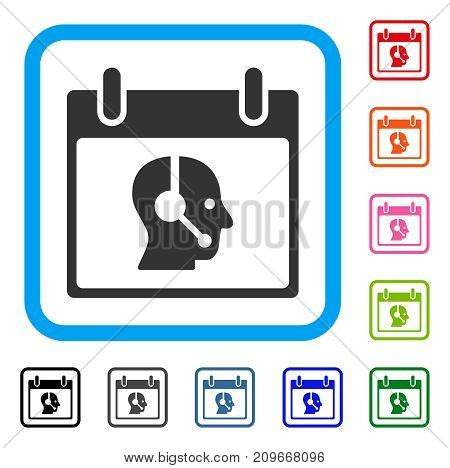 Operator Calendar Day icon. Flat grey iconic symbol in a light blue rounded square. Black, gray, green, blue, red, orange color versions of Operator Calendar Day vector.