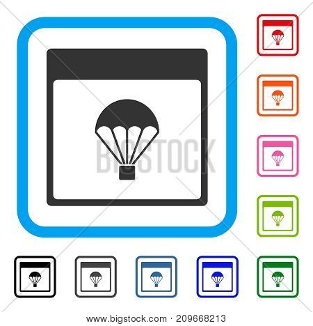 Parachute Calendar Page icon. Flat gray iconic symbol inside a light blue rounded rectangular frame. Black, gray, green, blue, red, orange color variants of Parachute Calendar Page vector.