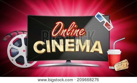 Online Cinema Banner Vector. Realistic Computer Monitor. Movie Brochure Design. Template Banner For Movie Premiere, Show. Marketing Luxury Poster Illustration.