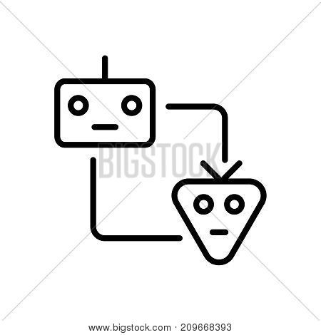 Modern machine learning line icon. Premium pictogram isolated on a white background. Vector illustration. Stroke high quality symbol. Machine learning icon in modern line style.